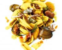 Strascinati alle cozze e calamari spillo con lenticchie, arancia e zafferano