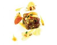 Farro, gambero rosso e citronette di pompelmo